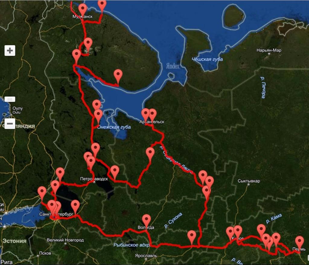 Схема маршрута путешествия по северу России