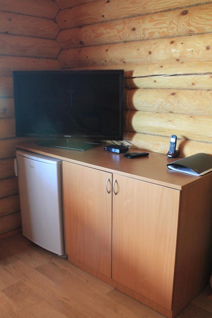 Телевизор и холодильник в номере