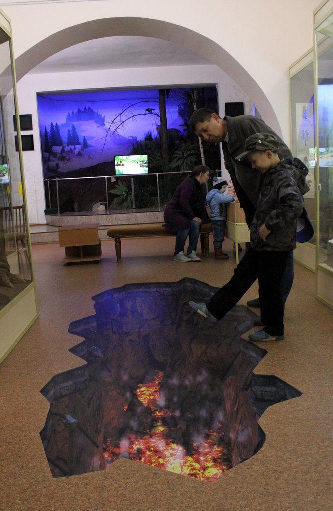 Вулканический разлом прямо в музее