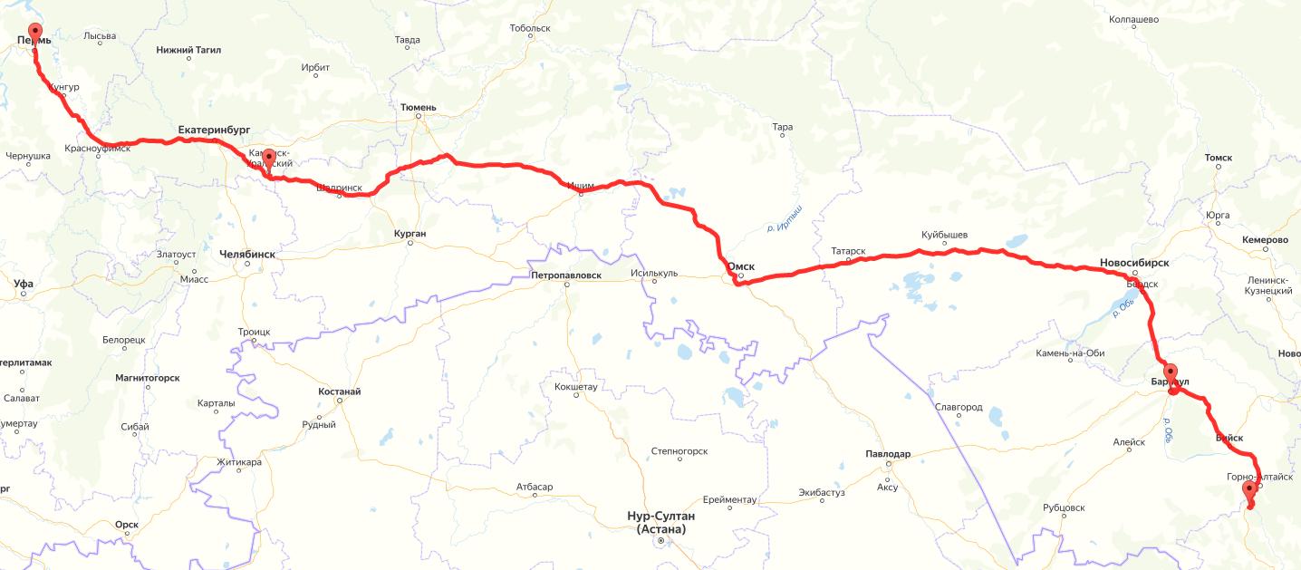 Маршрут на Алтай из Перми на карте